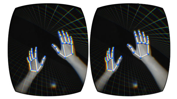 LeapMotion attaches to Oculus Rift and tracks your hand movements.